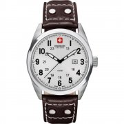 Swiss Military Sergeant white dial leather strap Mens watch 6-4181.04.001