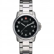 Swiss Military Soldier black dial stainless steel bracelet Mens watch 6-5141.04.007