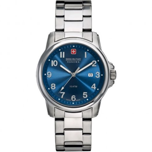 Swiss Military Soldier blue dial stainless steel bracelet Mens watch 6-5141.04.003