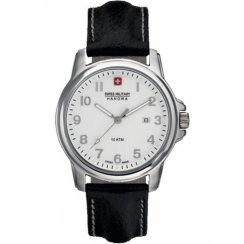Swiss Military Soldier white dial leather strap Mens watch 6-4141.04.001