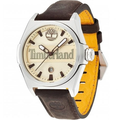 Timberland Back Ray Beige Dial Brown Leather Strap Gents Watch 13329JS-07A