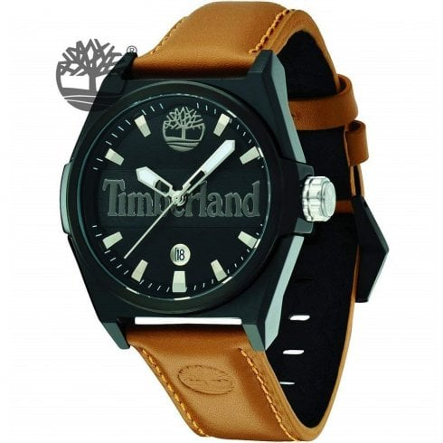 Timberland Back Ray Black Dial Tan Leather Strap Gents Watch 13329JSB-02