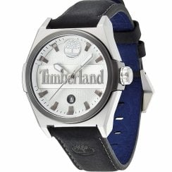 Timberland Back Ray Silver Dial Black Leather Strap Gents Watch 13329JSTU-01