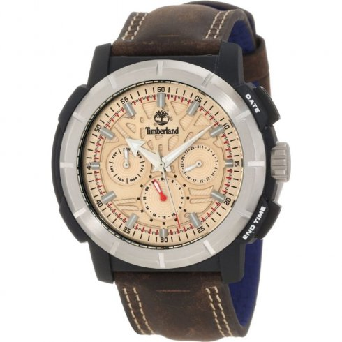 Timberland Edgewood beige dial leather strap Mens watch 13325JPBS-14