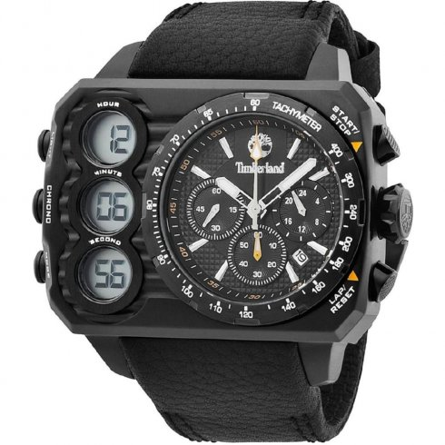 Timberland Ht3 black dial chronograph leather strap Mens watch 13673JSB-02