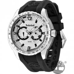 Timberland Juniper White Dial Black Resin Strap Gents Watch 13854JS-04