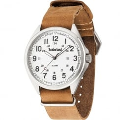 Timberland Raynham White Dial Brown Leather Slip Thru Strap 14829JS-01-BL