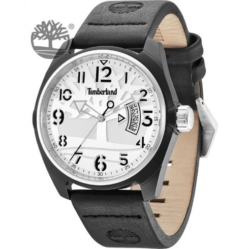 Timberland Sherington White Dial Black Leather Strap Gents Watch 13679JLBS-04