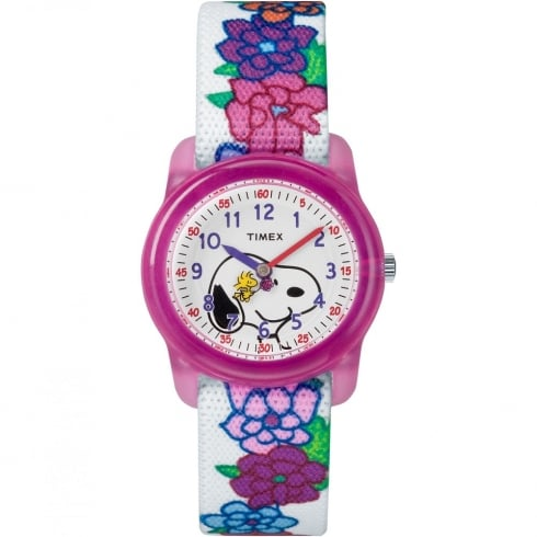 Timex Analog x Peanuts Snoopy Flowers White Fabric Strap Kids Watch TW2R41700