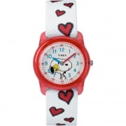 Timex Analog x Peanuts Snoopy Hearts White Fabric Strap Kids Watch TW2R41600