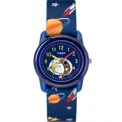 Timex Analog x Peanuts Snoopy Out of Space Blue Fabric Strap Kids Watch TW2R41800
