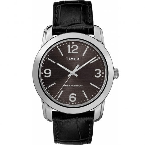 Timex Classic Black Dial Black Leather Strap Gents Watch TW2R86600