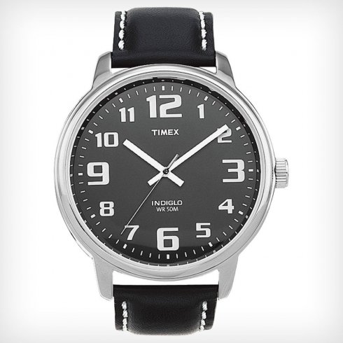 Timex Classic Black Dial Black Leather Strap Mens watch T28071