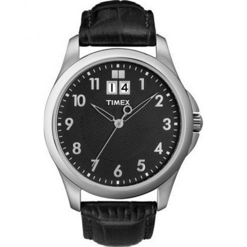 Timex Classic Black Dial Black Leather Strap Mens Watch T2N247