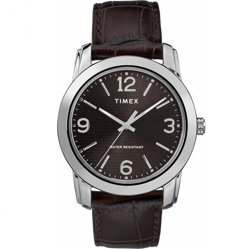 Timex Classic Black Dial Brown Leather Strap Gents Watch TW2R86700