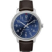 Timex Classic Blue Dial Brown Leather Strap Gents Watch TW2R85400
