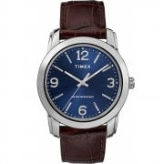 Timex Classic Blue Dial Brown Leather Strap Gents Watch TW2R86800