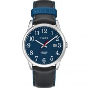 Timex Classic Blue Dial Grey Leather Strap Gents Watch TW2R62400