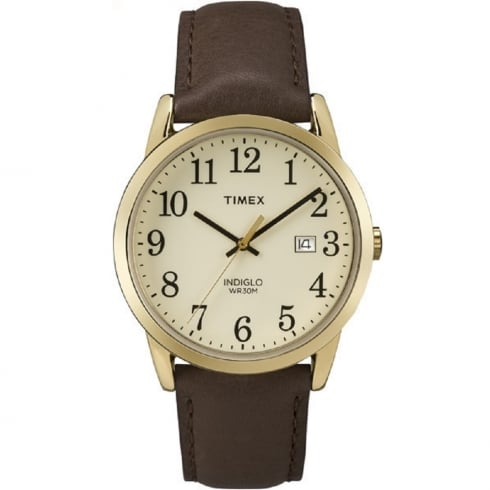 Timex Classic Easy Reader Beige Dial Brown Leather Strap Gents Watch TW2P75800