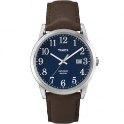 Timex Classic Easy Reader Blue Dial Brown Leather Strap Gents Watch TW2P75900