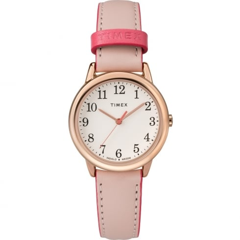 Timex Classic Easy Reader Cream Dial Pink Leather Strap Ladies Watch TW2R62800