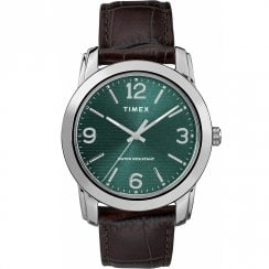 Timex Classic Green Dial Brown Leather Strap Gents Watch TW2R86900