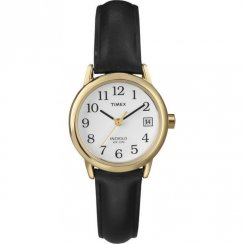 Timex Classic White Dial Black Leather Strap Ladies Watch T2H341