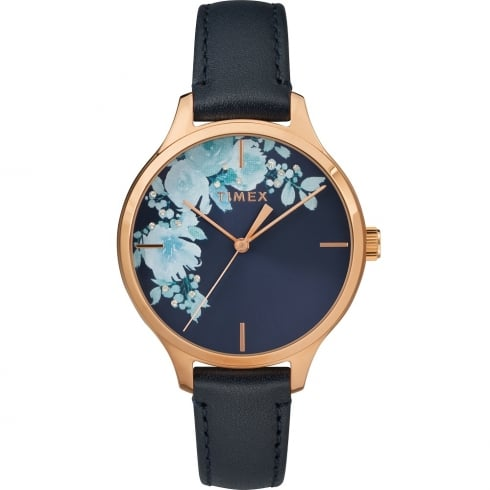 Timex Crystal Bloom Floral Dial Blue Leather Strap Ladies Watch TW2R66700