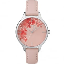 Timex Crystal Bloom Floral Dial Pink Leather Strap Ladies Watch TW2R66600