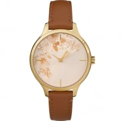 Timex Crystal Bloom Floral Dial Tan Leather Strap Ladies Watch TW2R66900