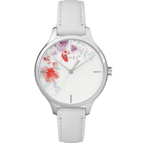 Timex Crystal Bloom Floral Dial White Leather Strap Ladies Watch TW2R66800