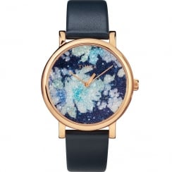 Timex Crystal Bloom Swarovski Floral Dial Blue Leather Strap Ladies Watch TW2R66400