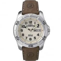 Timex Expedition Beige Dial Brown Leather Strap Gents Watch T46681