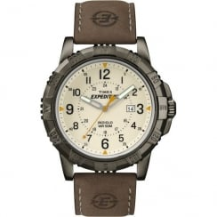 Timex Expedition Beige Dial Brown Leather Strap Gents Watch T49990