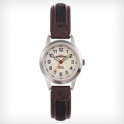 Timex Expedition Beige Dial Brown Leather Strap Ladies Watch T41181