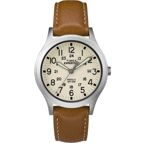 Timex Expedition Beige Dial Tan Leather Strap Gents Watch TW4B11000