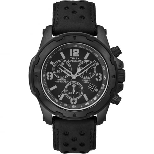 Timex Expedition Chronograph Black Dial Black Leather Strap Gents Watch TW4B01400