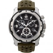 Timex Expedition Chronograph Black Dial Brown Leather Strap Gents Watch T49626
