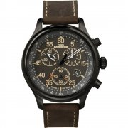 Timex Expedition Chronograph Black Dial Brown Leather Strap Mens Watch T49905