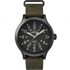 Timex Expedition Scout 43 Black Dial Khaki Leather Strap Gents Watch TW4B06700