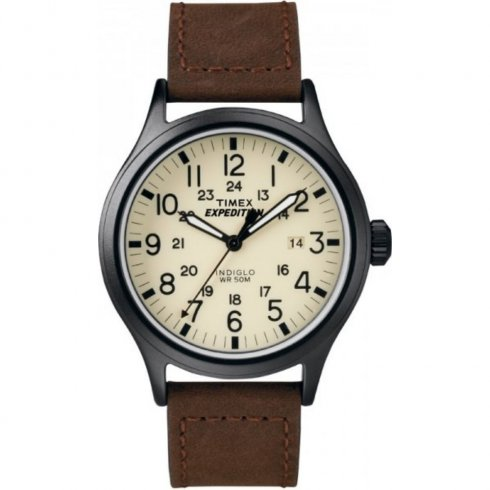 Timex Expedition Scout Beige Dial Brown Leather Strap Gents Watch T49963