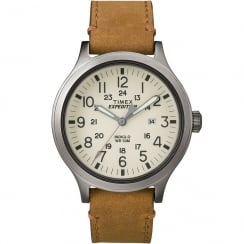 Timex Expedition Scout Beige Dial Tan Leather Strap Gents Watch TW4B06500