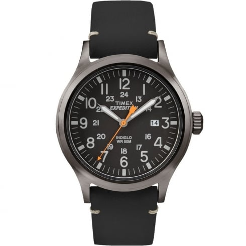 Timex Expedition Scout Black Dial Black Leather Strap Gents Watch TW4B01900