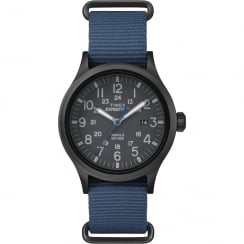 Timex Expedition Scout Black Dial Blue Slip Thru Nylon Strap Gents Watch TW4B04800