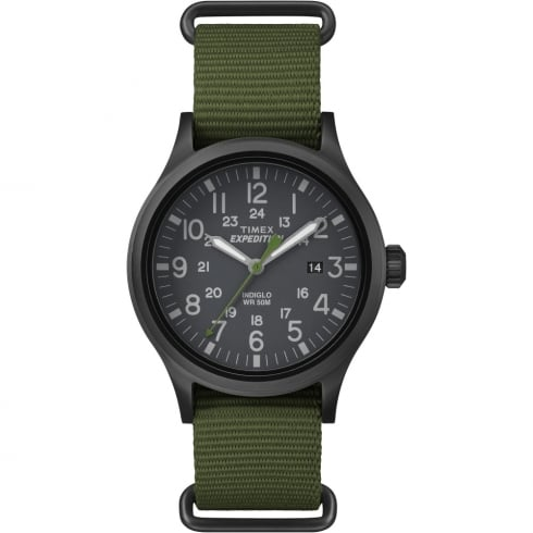 Timex Expedition Scout Black Dial Green Slip Thru Nylon Strap Gents Watch TW4B04700