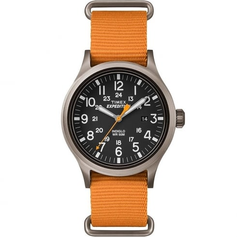 Timex Expedition Scout Black Dial Orange Nylon Strap Gents Watch TW4B04600