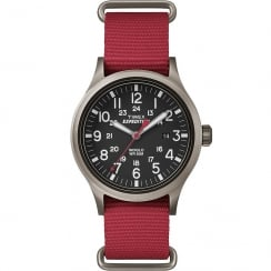 Timex Expedition Scout Black Dial Red Nylon Strap Gents Watch TW4B04500