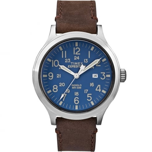 Timex Expedition Scout Blue Dial Brown Leather Strap Gents Watch TW4B06400