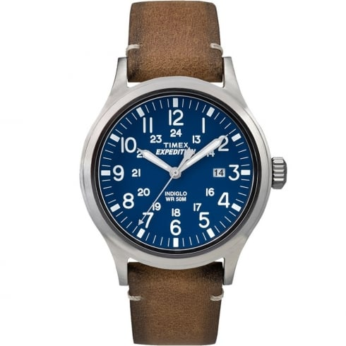 Timex Expedition Scout Blue Dial Tan Leather Strap Gents Watch TW4B01800