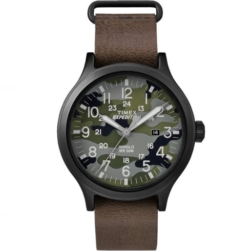 Timex Expedition Scout Camouflage Dial Brown Slip Thru Leather Strap Gents Watch TW4B06600